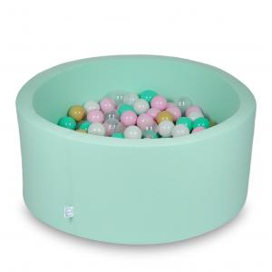 Ball Pit 90x40cm mint with balls 300pcs (white, baby pink, transparent, beige, mint)