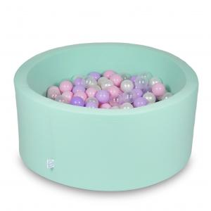 Ball Pit 90x40cm mint with balls 300pcs (baby pink, pearl, transparent, heather)