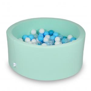 Ball Pit 90x40cm mint with balls 300pcs (turquoise, white, transparent, baby blue)