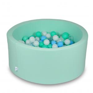 Ball Pit 90x40cm mint with balls 300pcs (baby blue, transparent, mint, white)