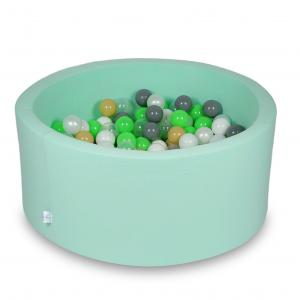 Ball Pit 90x40cm mint with balls 300pcs (celadon, white, transparent, pearl, beige, gray)