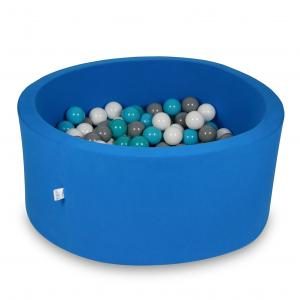 Ball Pit 90x40cm azure with balls 300pcs (white, gray, turquoise)