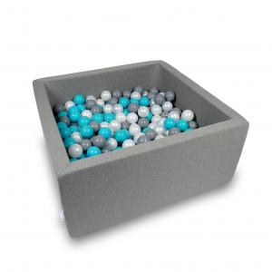 Ball Pit 90x90x40cm gray with balls 400pcs (turquoise, gray, pearl)