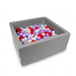 Ball Pit 90x90x40cm gray with balls 400pcs (transparent, pearl, heather, red)