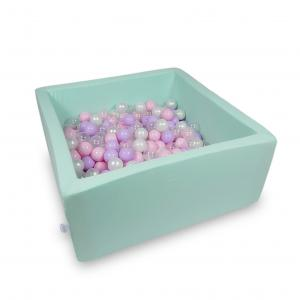 Ball Pit 90x90x40cm mint with balls 400pcs (baby pink, pearl, transparent, heather)