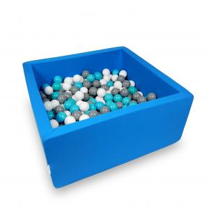 Ball Pit 90x90x40cm azure with balls 400pcs (white, gray, turquoise)