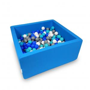 Ball Pit 90x90x40cm azure with balls 400pcs (turquoise, blue, white, gray)