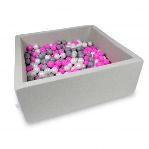 Ball Pit 110x110x40cm light gray with balls 600pcs (pink, pearl, gray)