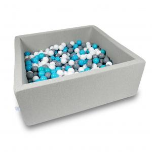 Ball Pit 110x110x40cm light gray with balls 600pcs (turquoise, white, gray)