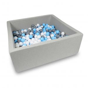 Ball Pit 110x110x40cm light gray with balls 600pcs (baby blue, white, gray)