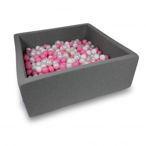 Ball Pit 110x110x40cm gray with balls 600pcs (white, pearl, powder pink)
