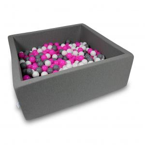 Ball Pit 110x110x40cm gray with balls 600pcs (white, gray, pink)