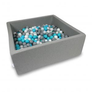 Ball Pit 110x110x40cm gray with balls 600pcs (turquoise, gray, pearl)