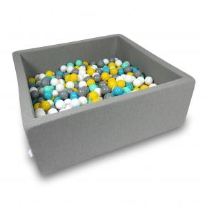 Ball Pit 110x110x40cm gray with balls 600pcs (white, gray, turquoise, yellow, mint)