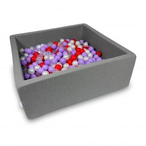 Ball Pit 110x110x40cm gray with balls 600pcs (transparent, pearl, heather, red)