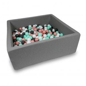 Ball Pit 110x110x40cm gray with balls 600pcs (white, rosegold, light mint, graphite)