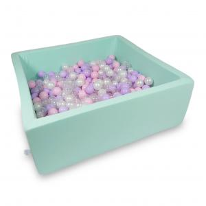 Ball Pit 110x110x40cm mint with balls 600pcs (baby pink, pearl, transparent, heather)
