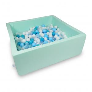Ball Pit 110x110x40cm mint with balls 600pcs (turquoise, white, transparent, baby blue)