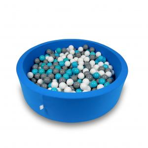 Ball Pit 110x30cm azure with balls 400pcs (white, gray, turquoise)