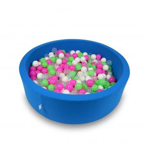 Ball Pit 110x30cm azure with balls 400pcs (celadon, pink, white, transparent)