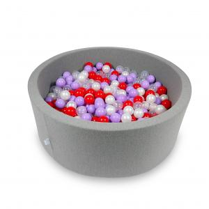 Ball Pit 115x40cm gray with balls 500pcs (transparent, pearl, heather, red)