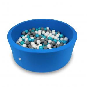 Ball Pit 115x40cm azure with balls 500pcs (white, gray, turquoise)