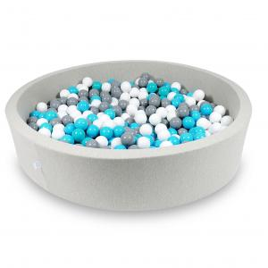 Ball Pit 130x30cm light gray with balls 600pcs (turquoise, white, gray)