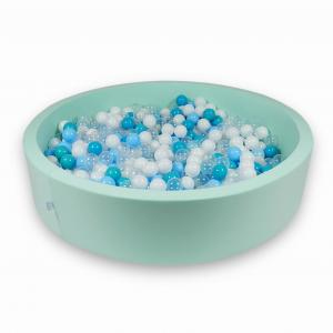 Ball Pit 130x30cm mint with balls 600pcs (turquoise, white, transparent, baby blue)