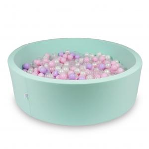Ball Pit 130x40cm mint with balls 700pcs (baby pink, pearl, transparent, heather)