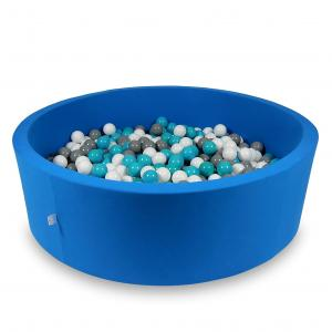 Ball Pit 130x40cm azure with balls 700pcs (white, gray, turquoise)