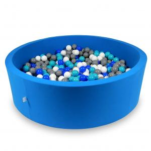 Ball Pit 130x40cm azure with balls 700pcs (turquoise, blue, white, gray)