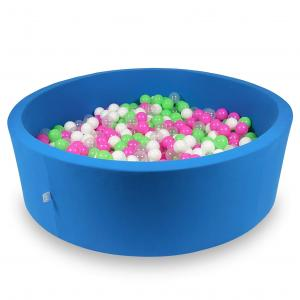 Ball Pit 130x40cm azure with balls 700pcs (celadon, pink, white, transparent)