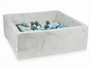 Ball Pit 110x110x40 marble with balls 600pcs (light mint, baby blue, gray, pearl)