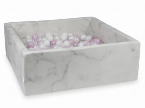 Ball Pit 110x110x40 marble with balls 600pcs (baby pink pearl, white, transparent, pearl)