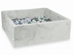 Ball Pit 110x110x40 marble with balls 600pcs (light mint, baby pink pearl, baby blue pearl, pearl, gray)