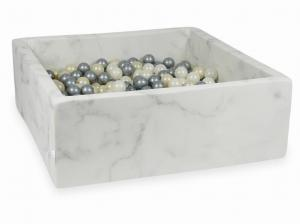 Ball Pit 110x110x40 marble with balls 600pcs 	(light gold, silver, mermaid effect)
