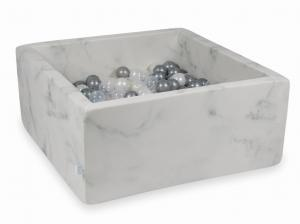 Ball Pit 90x90x40 marble with balls 400pcs (pearl, transparent, silver)