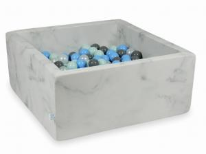 Ball Pit 90x90x40 marble with balls 400pcs (light mint, baby blue, gray, pearl)