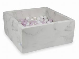 Ball Pit 90x90x40 marble with balls 400pcs (baby pink pearl, white, transparent, pearl)