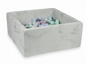 Ball Pit 90x90x40 marble with balls 400pcs (light mint, baby pink pearl, baby blue pearl, pearl, gray)