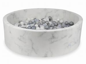 Ball Pit 130x40 marble with balls 700pcs (pearl, transparent, silver)