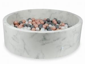 Ball Pit 130x40 marble with balls 700pcs (rosegold, gray, pearl)