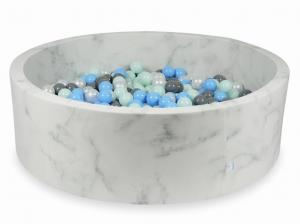 Ball Pit 130x40 marble with balls 700pcs (light mint, baby blue, gray, pearl)