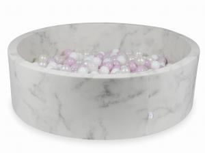 Ball Pit 130x40 marble with balls 700pcs (baby pink pearl, white, transparent, pearl)