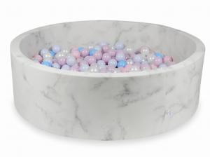 Ball Pit 130x40 marble with balls 700pcs (baby pink, baby pink pearl, baby blue pearl, baby blue, pearl)