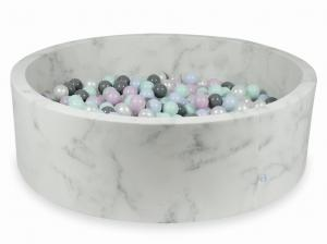 Ball Pit 130x40 marble with balls 700pcs (light mint, baby pink pearl, baby blue pearl, pearl, gray)