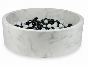 Ball Pit 130x40 marble with balls 700pcs 	(black, wooly white)