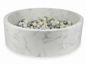 Ball Pit 130x40 marble with balls 700pcs 	(light gold, silver, mermaid effect)