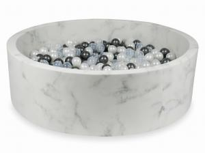 Ball Pit 130x40 marble with balls 700pcs 	(metallic graphite, pearl, transparent)