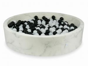 Ball Pit 130x30 marble with balls 600pcs 	(black, wooly white)